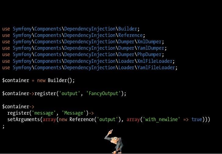 use   SymfonyComponentsDependencyInjectionBuilder; use   SymfonyComponentsDependencyInjectionReference; use   SymfonyCompo...
