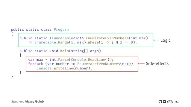 public static class Program { public static IEnumerable<int> EnumerateEvenNumbers(int max) => Enumerable.Range(1, max).Whe...