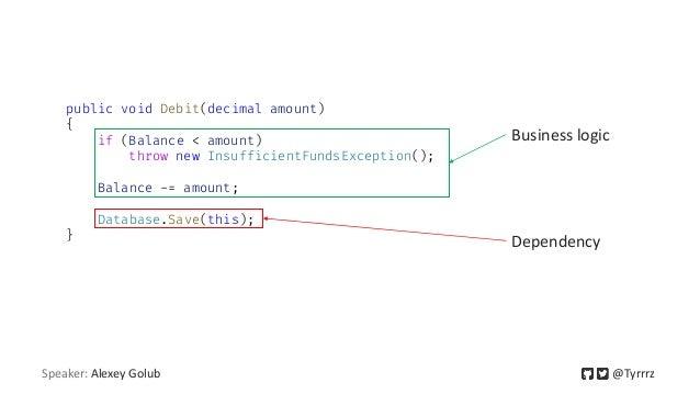 public void Debit(decimal amount) { if (Balance < amount) throw new InsufficientFundsException(); Balance -= amount; Datab...
