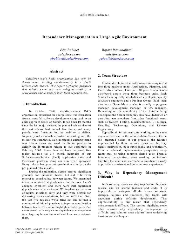 Agile 2008 Conference                            Dependency Management in a Large Agile Environment                       ...