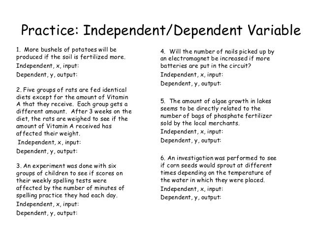 Independent Versus Dependent Variable Worksheet Answers - Best ...