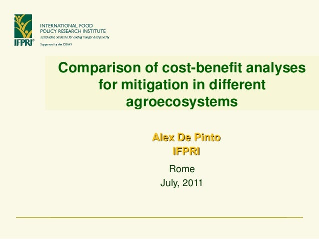 Comparison of cost-benefit analyses for mitigation in different agroecosystems  Alex De Pinto  IFPRI  Rome  July, 2011
