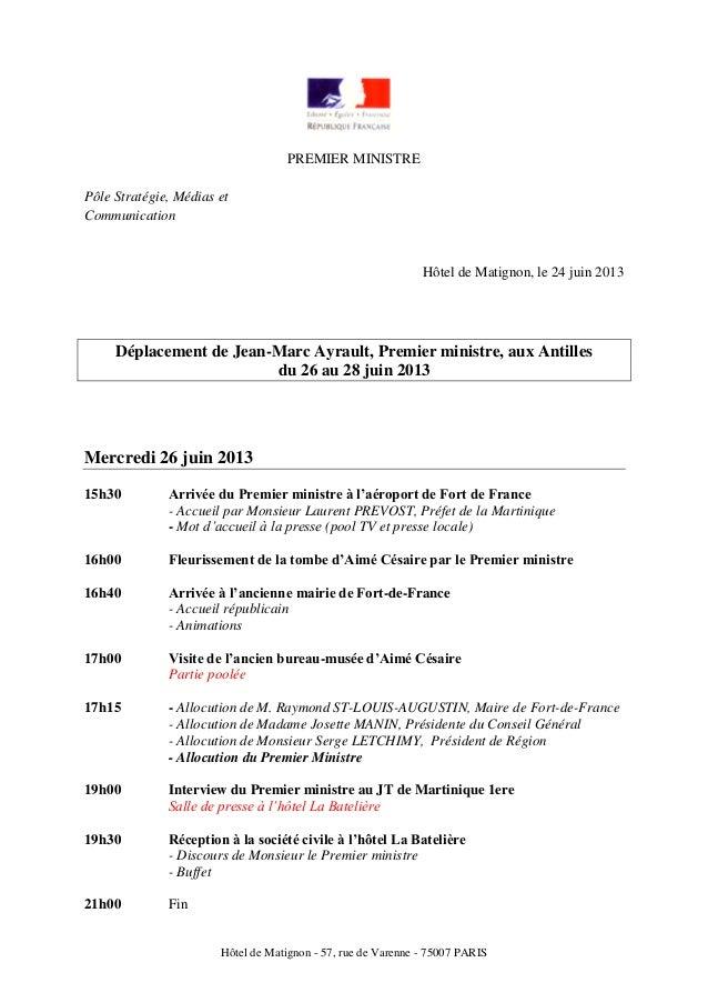 Hôtel de Matignon - 57, rue de Varenne - 75007 PARISPREMIER MINISTREPôle Stratégie, Médias etCommunicationHôtel de Matigno...