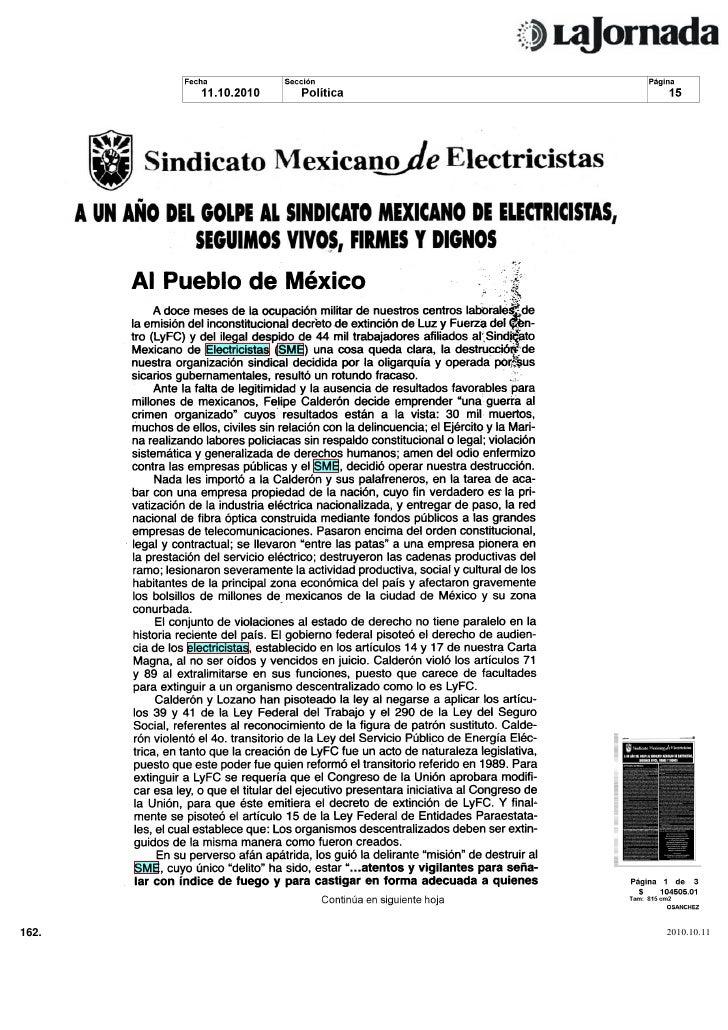 Al Pueblo de México f            A doce meses de la ocupación militar de nuestros centros laborales^de        la emisión d...