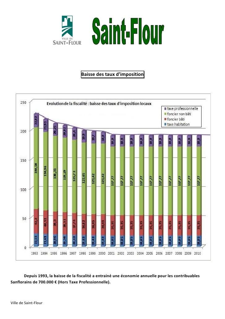 Baisse des taux d'imposition       Depuis 1993, la baisse de la fiscalité a entrainé une économie annuelle pour les contri...