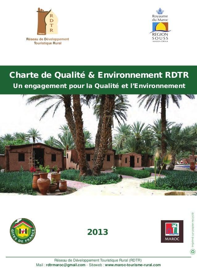 Réseau de Développement Touristique Rural Réseau de Développement Touristique Rural (RDTR) Mail : rdtrmaroc@gmail.com - Si...
