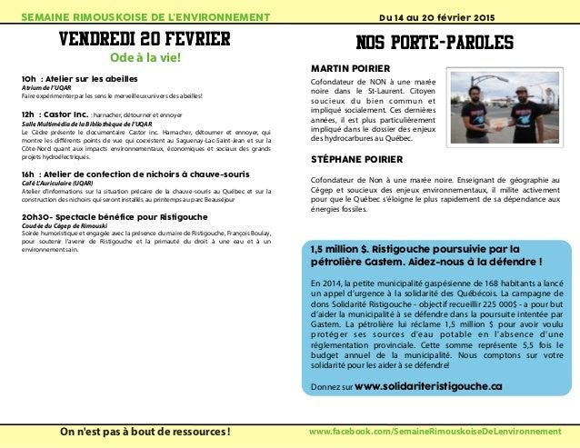 Brochure de la semaine rimouskoise de l 39 environnement du for Ame atelier du meuble environnemental inc