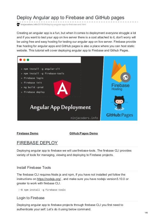 Deploy angular app to firebase and git hub pages