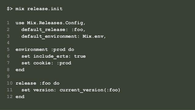 $> mix release.init 1 use Mix.Releases.Config, 2 default_release: :foo, 3 default_environment: Mix.env, 4 5 environment :p...