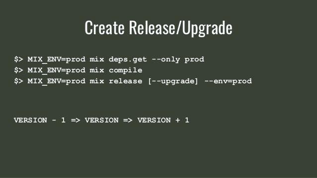 $> MIX_ENV=prod mix deps.get --only prod $> MIX_ENV=prod mix compile $> MIX_ENV=prod mix release [--upgrade] --env=prod VE...