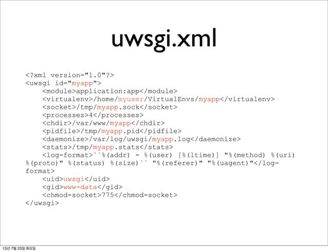 "uwsgi.xml <?xml version=""1.0""?> <uwsgi id=""myapp""> <module>application:app</module> <virtualenv>/home/myuser/VirtualEnvs/m..."