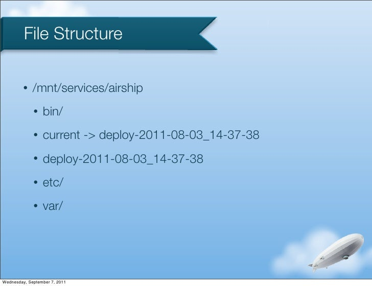 File Structure         •   /mnt/services/airship             •   bin/             •   current -> deploy-2011-08-03_14-37-3...
