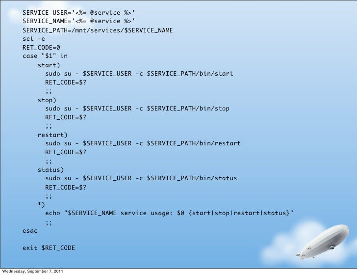 SERVICE_USER=<%= @service %>         SERVICE_NAME=<%= @service %>         SERVICE_PATH=/mnt/services/$SERVICE_NAME        ...