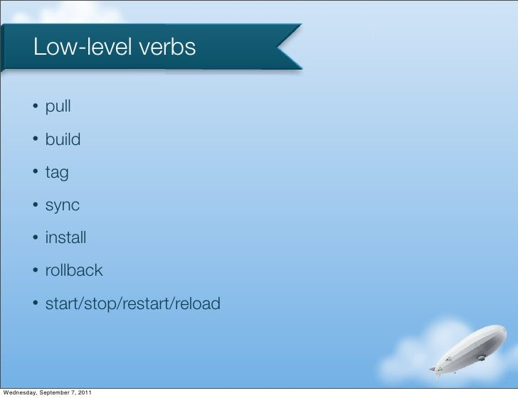 Low-level verbs         •   pull         •   build         •   tag         •   sync         •   install         •   rollba...