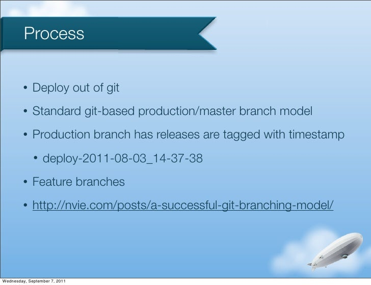 Process         •   Deploy out of git         •   Standard git-based production/master branch model         •   Production...