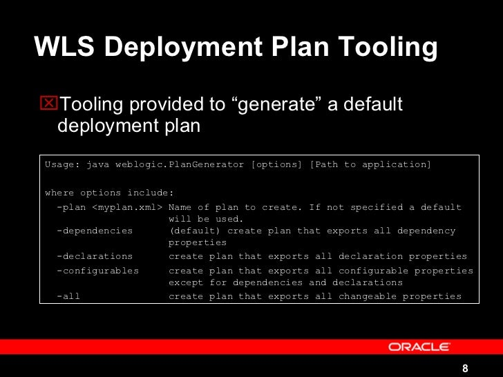 WebLogic Deployment Plan Example