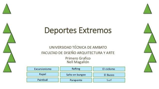 Deportes Extremos UNIVERSIDAD TÉCNICA DE AMBATO FACULTAD DE DISEÑO ARQUITECTURA Y ARTE Primero Grafico Nell Magallón Salto...