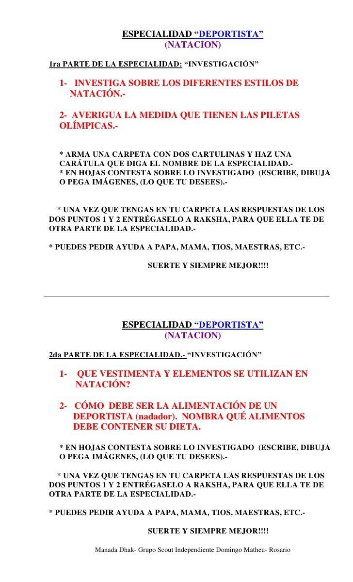 """ESPECIALIDAD """"DEPORTISTA""""                          (NATACION)  1ra PARTE DE LA ESPECIALIDAD: """"INVESTIGACIÓN""""    1- INVESTI..."""