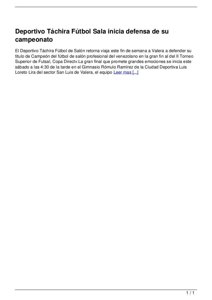 Deportivo Táchira Fútbol Sala inicia defensa de su                                   campeonato                           ...