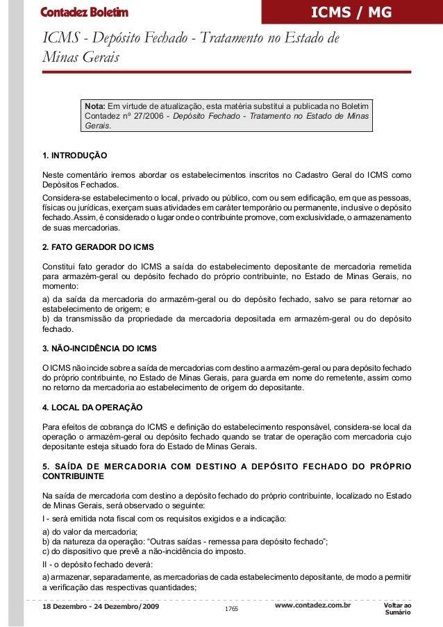 Contadez Boletim                                                           ICMS / MGICMS - Depósito Fechado - Tratamento n...