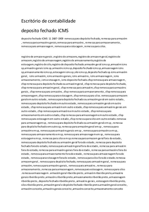 Escritório de contabilidade deposito fechado ICMS depositofechado ICMS 11 2687-1909 remessaparadepósitofechado,remessapara...