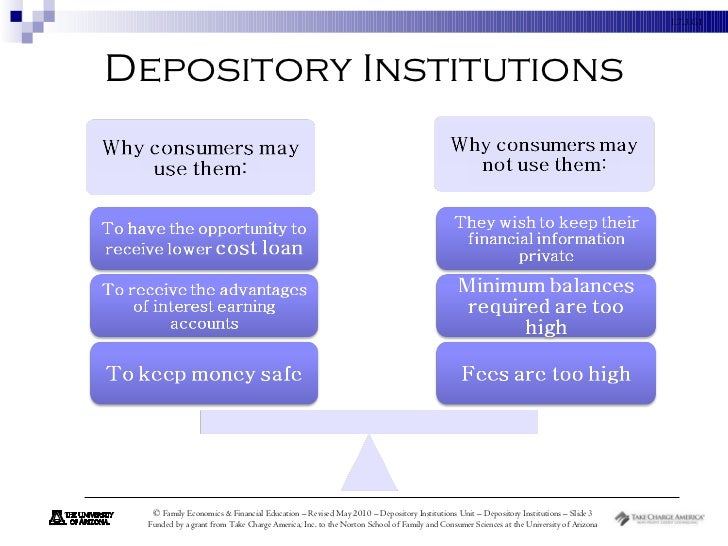 depository institution Any financial institution that accepts deposits depository institutions include  government-sponsored credit unions us depository institutions include.