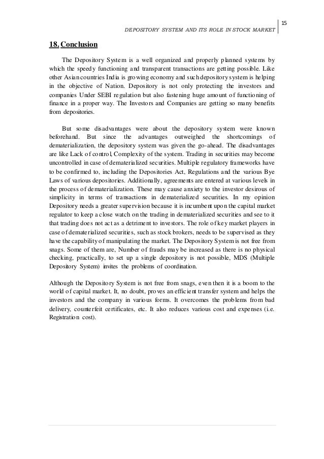 conclusion on sebi The paper shows the role of sebi (securities and exchange board of india)   sebi had issued new guidelines for the protection of  conclusion.