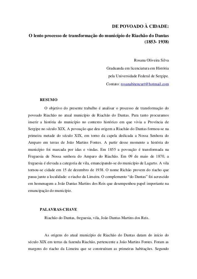 DE POVOADO À CIDADE:O lento processo de transformação do município de Riachão do Dantas                                   ...