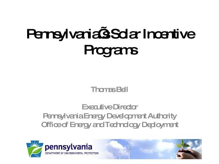 PA DEP Solar Incentive Programs