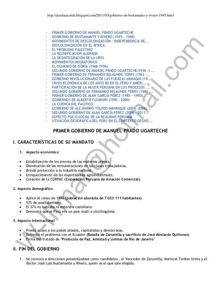 http://ayudaracnida.blogspot.com/2011/03/gobierno-de-bustamante-y-rivero-1945.html                       PRIMER GOBIERNO ...