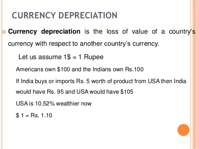 depreciation of the rupee Rupee depreciation against the dollar keeps deficit running currency will  continue to be affected by the position of balance of payments,.