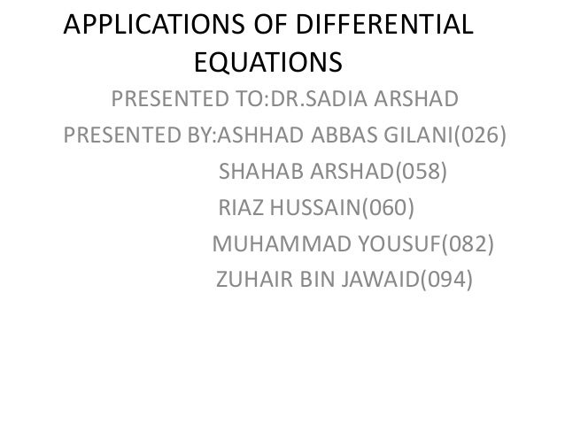 APPLICATIONS OF DIFFERENTIAL EQUATIONS-ZBJ