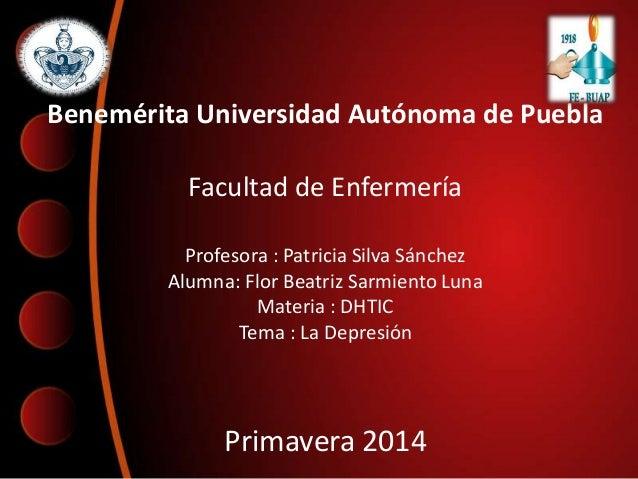 Benemérita Universidad Autónoma de Puebla Facultad de Enfermería Profesora : Patricia Silva Sánchez Alumna: Flor Beatriz S...