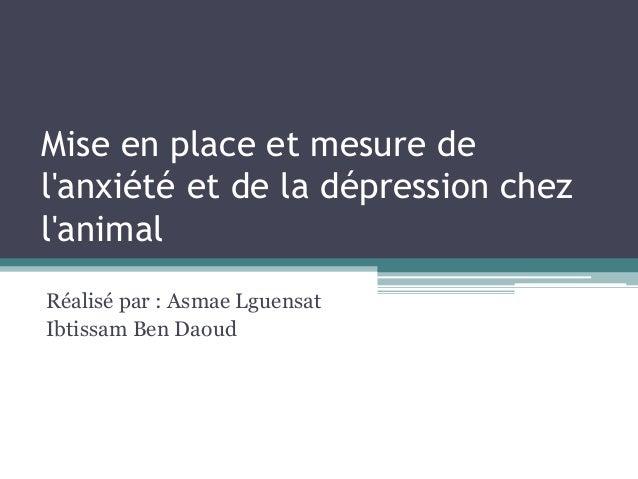 Mise en place et mesure de l'anxiété et de la dépression chez l'animal Réalisé par : Asmae Lguensat Ibtissam Ben Daoud