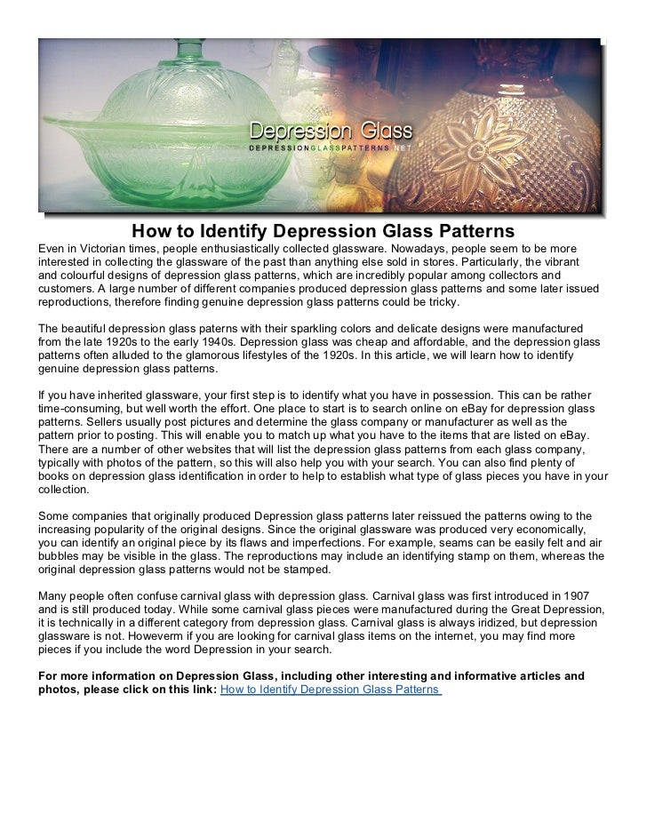 How to Identify Depression Glass Patterns