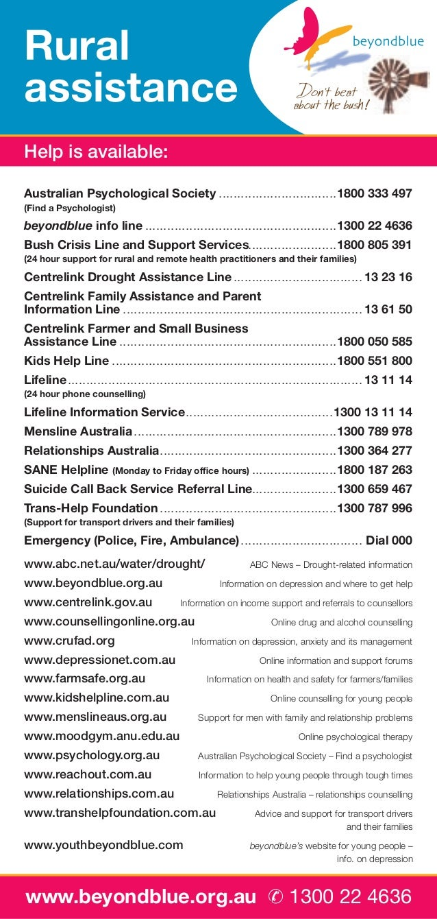 Rural assistance Help is available: Australian Psychological Society. . . . . . . . . . . . . . . . . . . . . . . . . . . ...
