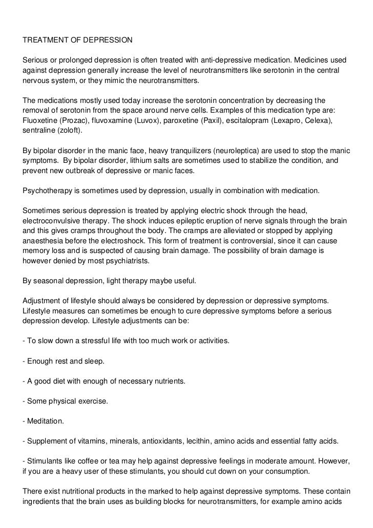 depression symptoms and treatment pdf