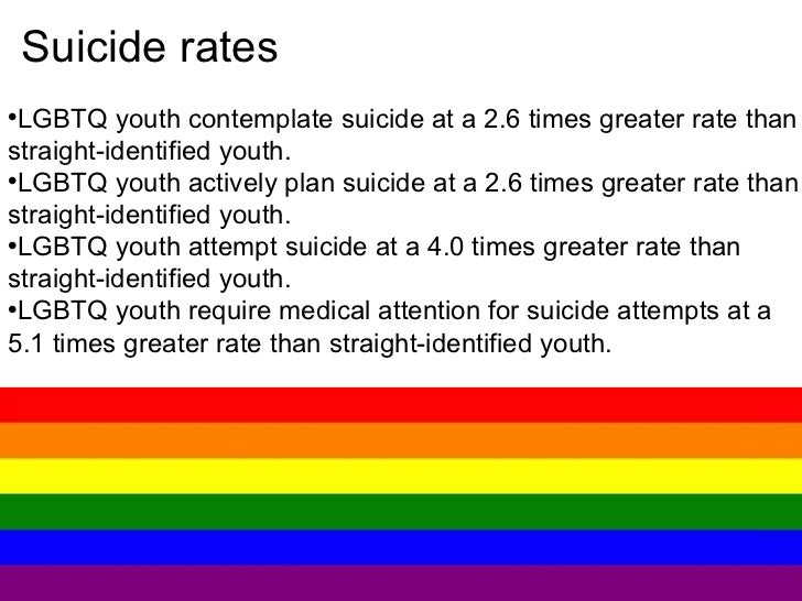 causes of suicide among homosexual youth Discrimination, society, lesbiasnism - suicide prevention among lgbt youth.