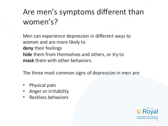 the signs and symptoms of depression in men and women Men and women share the same core set of depression symptoms:  in men and  women, found that women more often showed visible signs of.