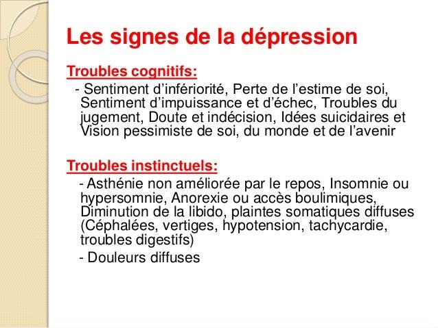 Les signes de la dépression  Troubles cognitifs:  - Sentiment d'infériorité, Perte de l'estime de soi,  Sentiment d'impuis...