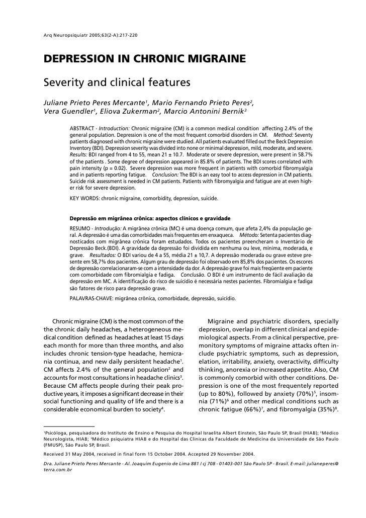 Arq Neuropsiquiatr 2005;63(2-A):217-220     DEPRESSION IN CHRONIC MIGRAINE  Severity and clinical features Juliane Prieto ...