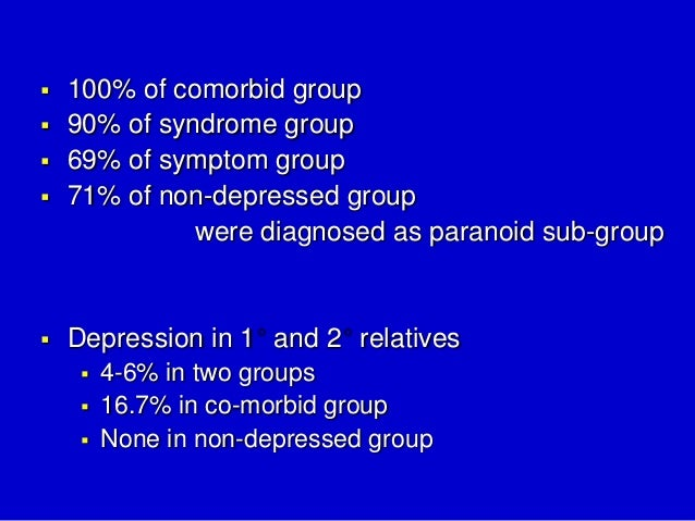 schizophrenia and depression Schizophrenia patients with aud are more likely to have social, legal, and rates of depression and hospitalization at 1-year followup (cuffel 1996) in a.