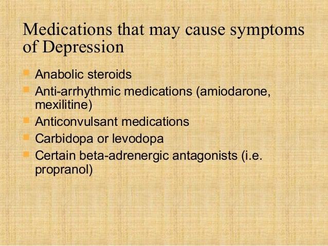 Medications that may cause symptomsof Depression   Anabolic steroids   Anti-arrhythmic medications (amiodarone,    mexil...