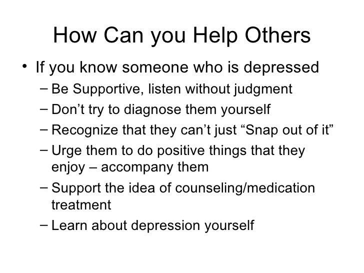 understanding depressionhow can you help