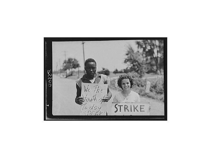 This photo was taken in August 1938 by photographer  John Vachon. It shows the members of a picket line at    King Farm st...