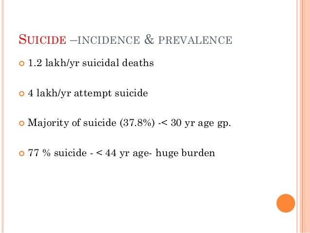 STUDIES  Venkoba Rao etal- Madurai - incidence- 43/1,00,0000 - fatality- 1/12 attempts  Hegde et al (Karnataka) - incide...
