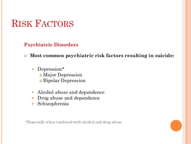 RISK FACTORS  Other psychiatric risk factors with potential to result in suicide (account for significantly fewer suicide...