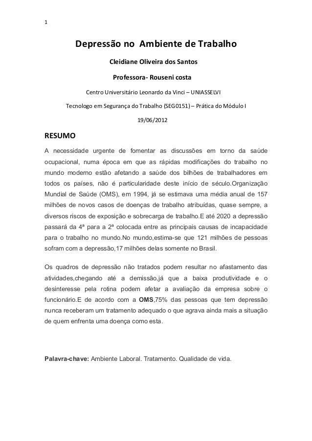 1          Depressão no Ambiente de Trabalho                      Cleidiane Oliveira dos Santos                        Pro...