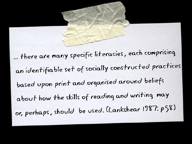Lankshear on the social nature of literacies
