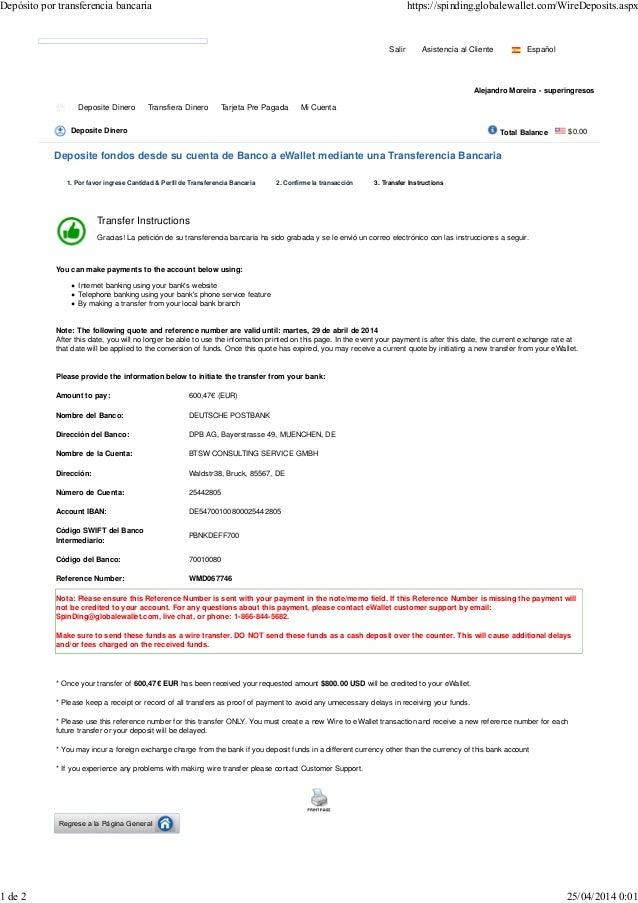 Dep sito por transferencia bancaria for Transferencia bancaria